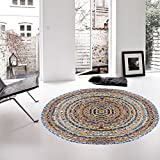 Hand Woven Jute & Multi Chindi Rug for