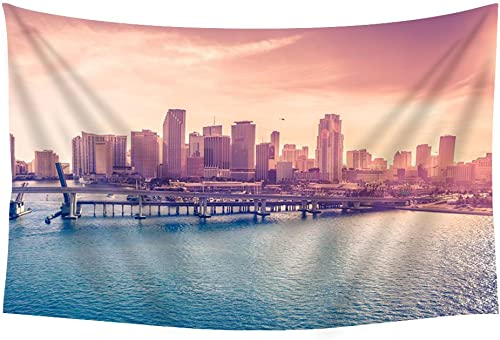 PUPBEAMO PRINTS Miami Florida USA Downtown sea Ocean – Wall Tapestry Art for Home Decor Wall Hanging Tapestry 60×40 Inches