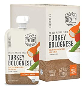Serenity Kids Toddler Purees, Pasture Raised Turkey Bolognese with Bone Broth, For 6+ Months, 3.5 Ounce Pouch (6 Count)