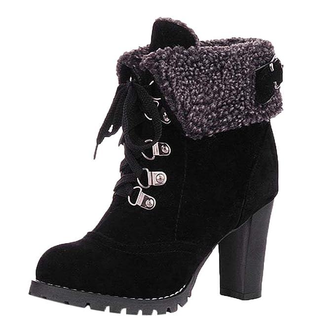 POLP Botas de Mujer Botines para Adulto Zapatos Otoño Invierno 2018 Caliente Calentar Botas de Nieve Botines Tacon Alto Zapatos con Cordones 35-43: ...