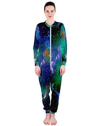 7c41e84e0c6 PattyCandy Women s One Piece Jumpsuit Aquamarine Cool Galaxy Print Pajamas -XS