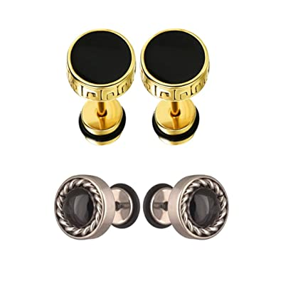 cfcc3e7ff Chooz Designer Studio Summer Collection Barbell Dumbbell Black Gold And Round  Diamond Silver Black Plated Stud, Bali Earring For Men (Pack Of 2):  Amazon.in: ...