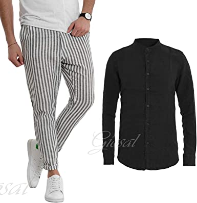 Giosal - Conjunto de Camisa Negra y pantalón a Rayas para Hombre * L: Amazon.es: Ropa y accesorios