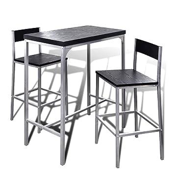 Festnight Bartisch Stehtisch Frühstückstisch mit Stühlen Essgruppe ...