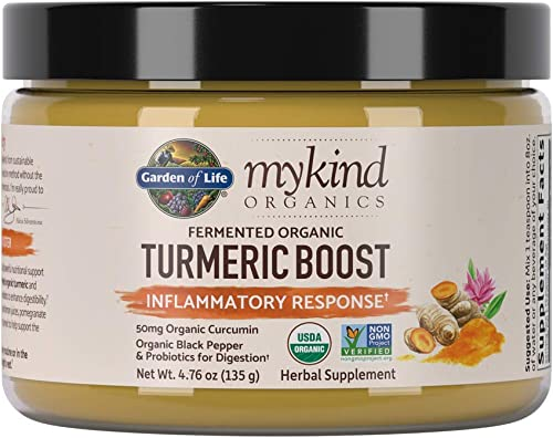 Garden of Life mykind Organics Turmeric Boost Inflammatory Response 4.76oz 135g Powder – 500mg Curcumin 95 Curcuminoids Probiotics, Organic Non-GMO Vegan Gluten Free Herbal Supplements