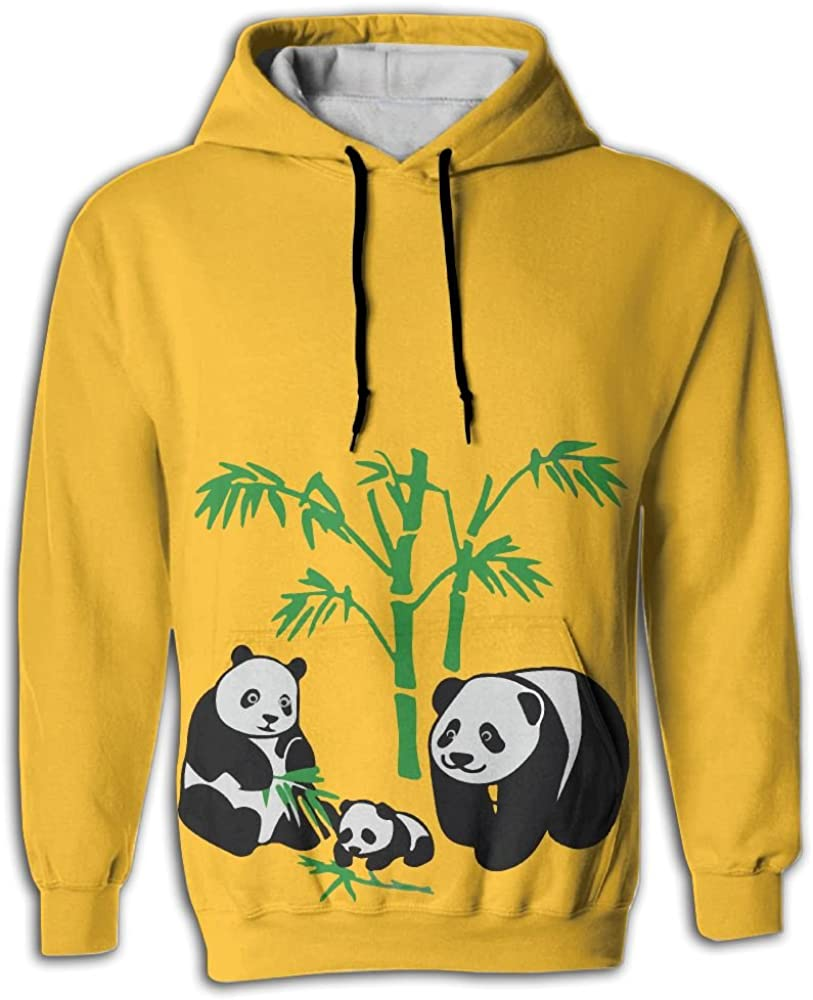 FUSALIN Family Animal Asia Panda BearUnisex 3D Printed Sweatshirt Casual Pullover Hoodie With Big Pockets