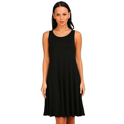 Amoluv Women Solid Basic Flowy Tank dress Summer Sleeveless Tunic