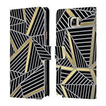Official Project M Black Gold And Grey Abstract Lines Two Tone Leather Book Wallet Case Cover For Samsung Galaxy Note5 / Note 5