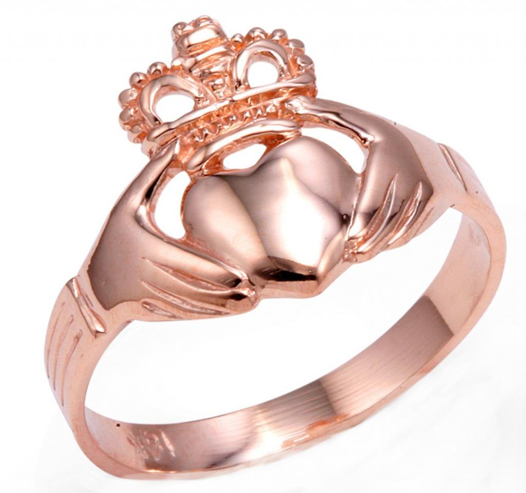 Rose Gold Claddagh Ring Ladies Traditional (10)