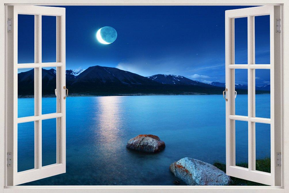 取り外し可能な大型3Dビニル製樹脂プリントウォールステッカー 月が美しく映える海の広がるおしゃれでユニークな窓の奥行きある 夜景デザイン サイズ85.09 × 119.38 cm B00OHYRD9G WIN-179 WIN-179