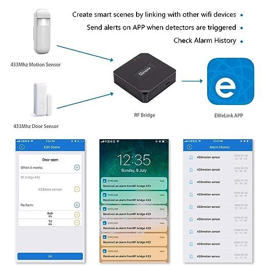 aixi-SHS Smart Wi-Fi 433 MHz Sonoff RF puente estroboscópica sirena seguridad sistema de alarma-EWeLink APP (Indoor/Outdoor Siren Alarm System + Sonoff ...