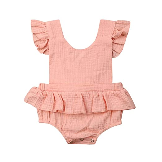 4de8d048113e6 Karuedoo Newborn Baby Girl Romper Bodysuits Cotton Flutter Sleeve One-Piece  Romper Outfits Clothes (