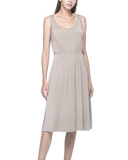 1740b61395 LAPASA Women s Sleeveless Tunic Sleep Dress Scoop Neck Nightgown Full Slip  Sleepwear w Drawstring L21 (
