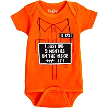 4527e6a15 Amazon.com: Sara Kety 9 Months On The Inside 0-6 Months Orange: Baby