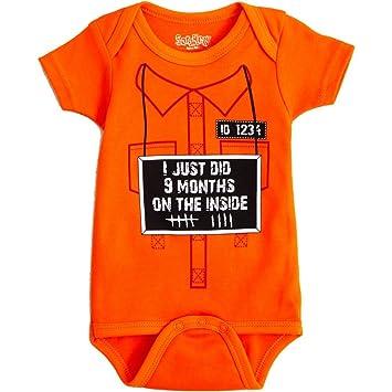 09f53046a Amazon.com: Sara Kety 9 Months On The Inside 0-6 Months Orange: Baby