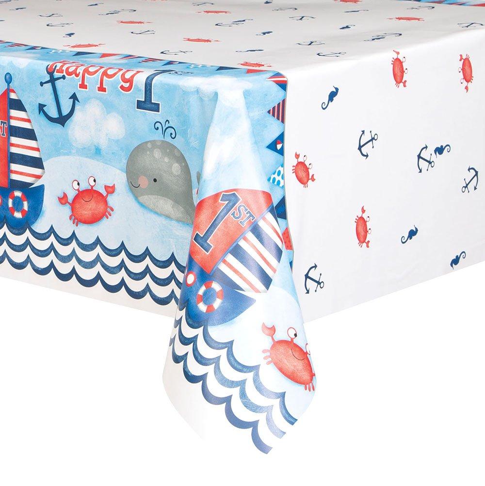 Unique Party 58173 7 x 4.5 Ft Nautical Boys 1st Birthday Plastic Tablecloth B01MS8EL1J  テーブルカバー