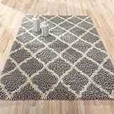 "Sweet Home Stores Cozy Shag Collection Moroccan Trellis Design Shag Rug Contemporary Living & Bedroom Soft Shaggy Area Rug,   Grey & Cream,  39"" L x 60"" W"