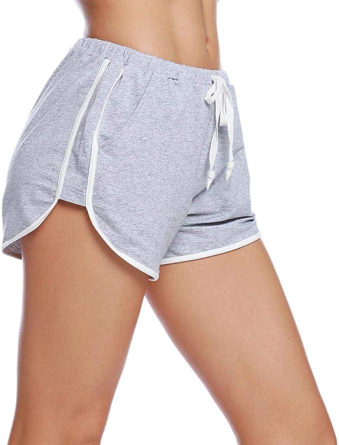 Abollria Pantalones Cortos de Pijama para Mujer Cintura Elástica Ajustable y Bolsillo Verano