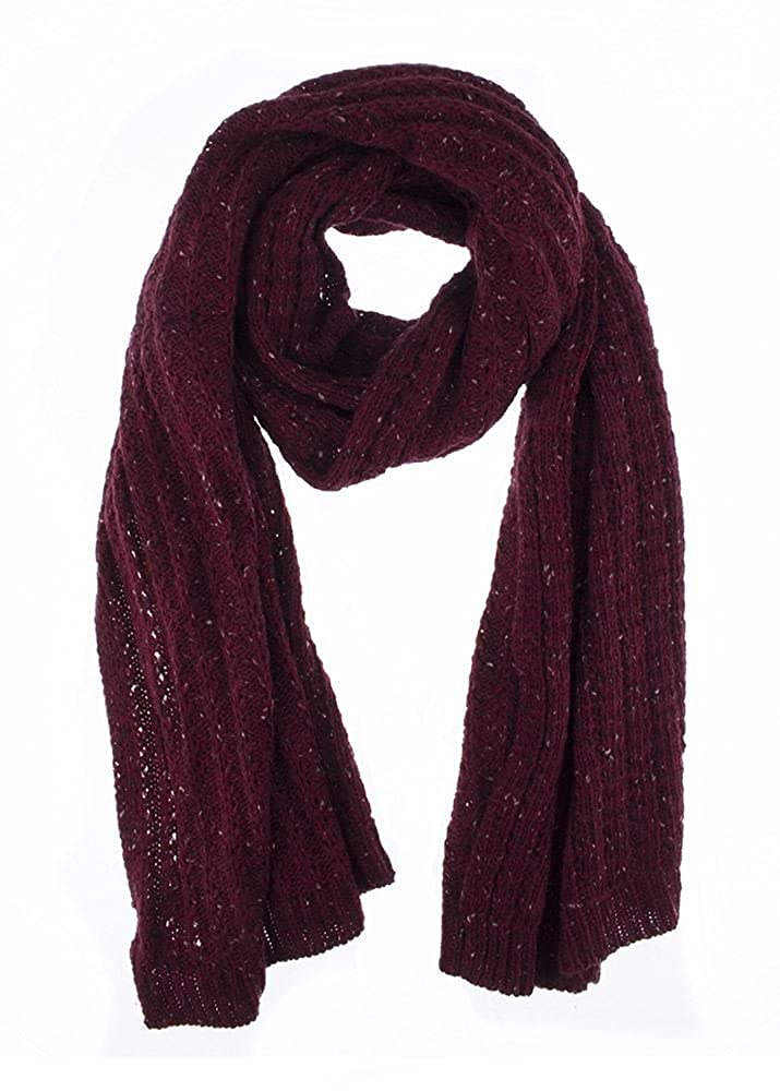 bf2350281cc Women s Dents Cable Knit Marl Blanket Scarf - Burgundy - One Size   Amazon.co.uk  Clothing