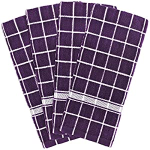 """DII Cotton Terry Windowpane Dish Towels, 16 x 26"""" Set of 4, Machine Washable and Ultra Absorbent Kitchen Bar Towels"""