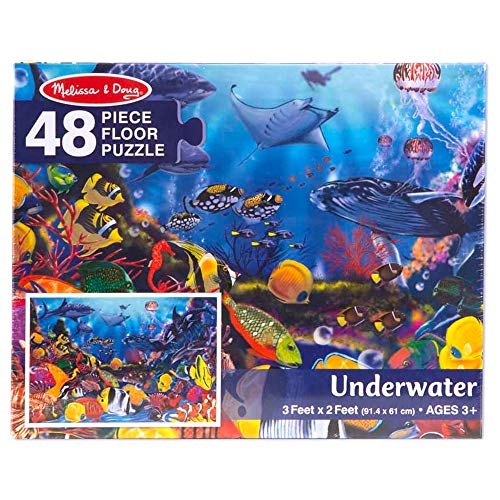 Melissa & Doug Underwater Floor Puzzle (Extra-Thick Cardboard Construction, Beautiful Original Artwork, 48 Pieces, 2′ × 3′, Great Gift for Girls and Boys - Best for 3, 4, 5, and 6 Year Olds) (Interesting Facts About The Amazon River Dolphin)