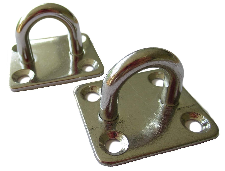 2 placas de ojo V4A / ganchos de techo / placa con ojal – Acero inoxidable 40 x 35 x 26,5 mm / 18 x 16 mm orificio de ojal – cuadradas – Acero inoxidable industrial