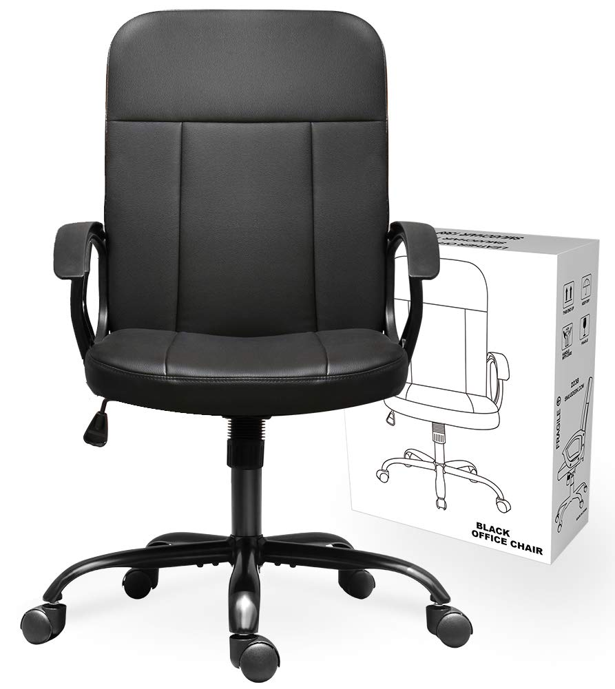 Office Chair, Mid Back Leather Desk Chair, Computer Swivel Office Task Chair, Ergonomic Executive Chair with Armrests by SMUGCHAIR