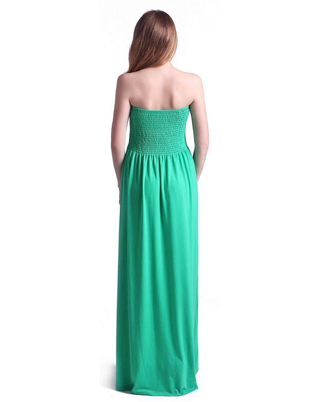 Tina Vent Beautiful Women\'s Strapless Dress Plus Size Tube Top Long Skirt  Sundress Cover Up Green2X