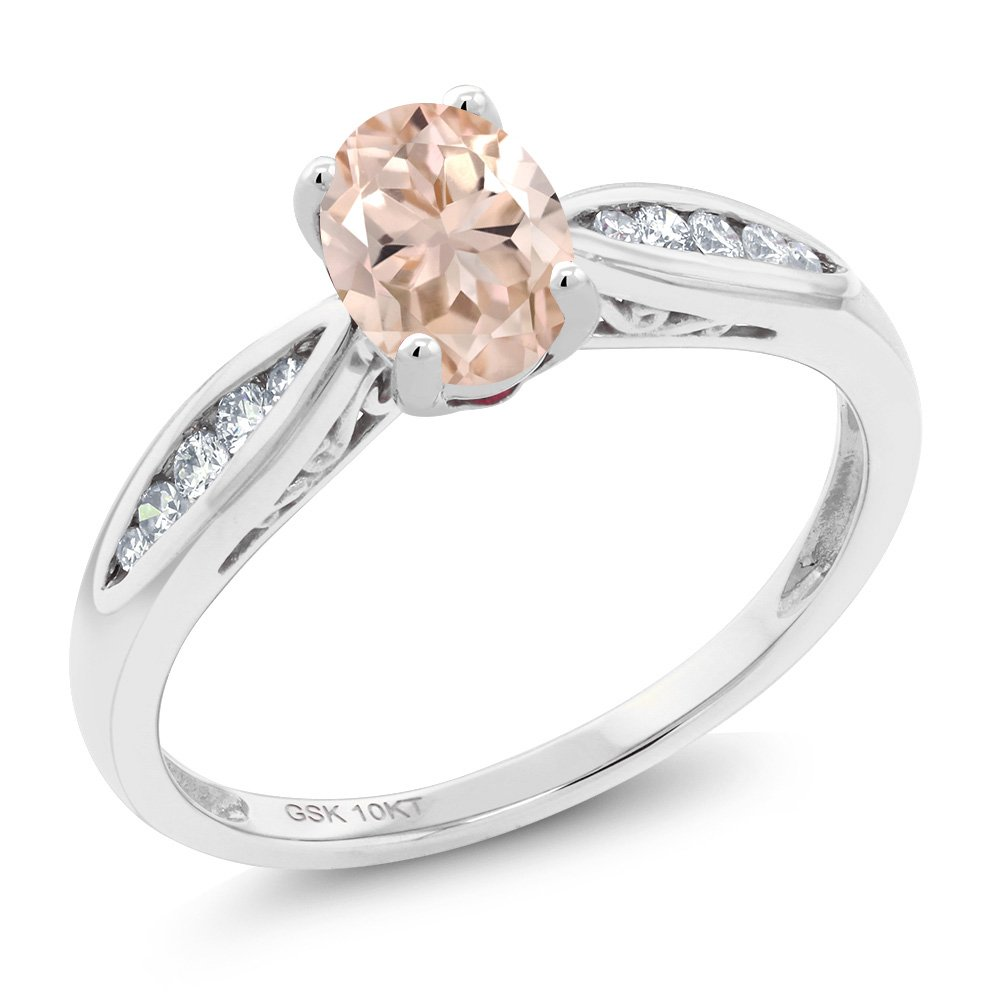 10K White Gold 0.72 Ct Oval Peach Morganite and Diamond Engagement Ring (Size 6)
