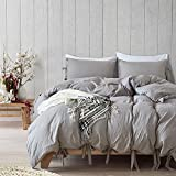 Hootech Duvet Cover Set Natural Washed Cotton Ultra Soft Solid Color Modern Style Bedding Set (Grey, King)
