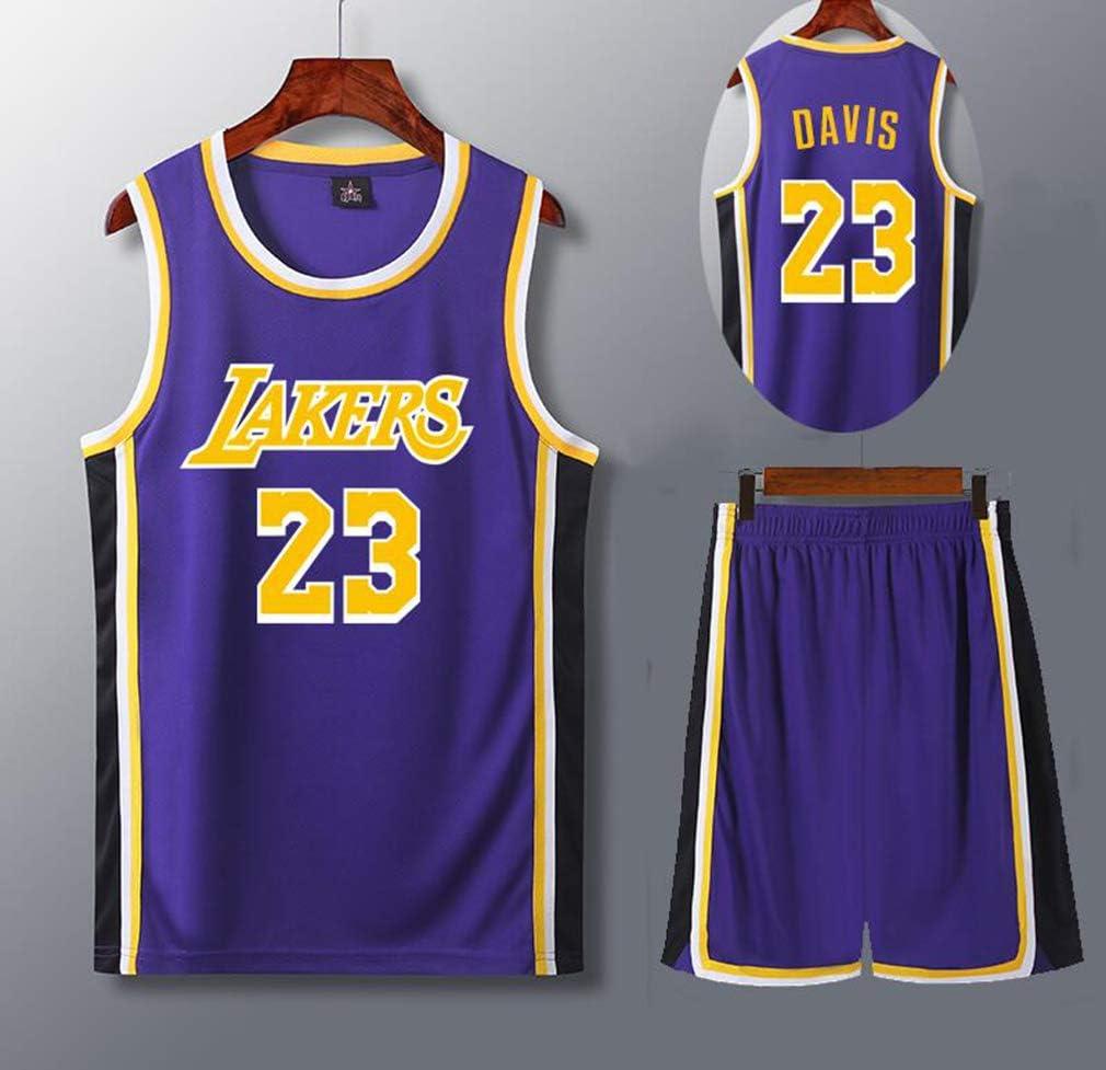 Set 23 Maillot Enfant//Jeune//Adulte Lakers, QZH T-Shirt Jersey de Los Angeles Maillot de Joueur de Basket 130-210cm