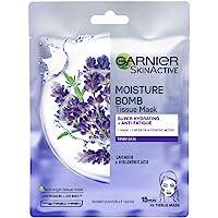 Garnier, ansiktsmask med lavendel, mjukar upp och lugnar känslig hud, Moisture Bomb Lavender, 28 g