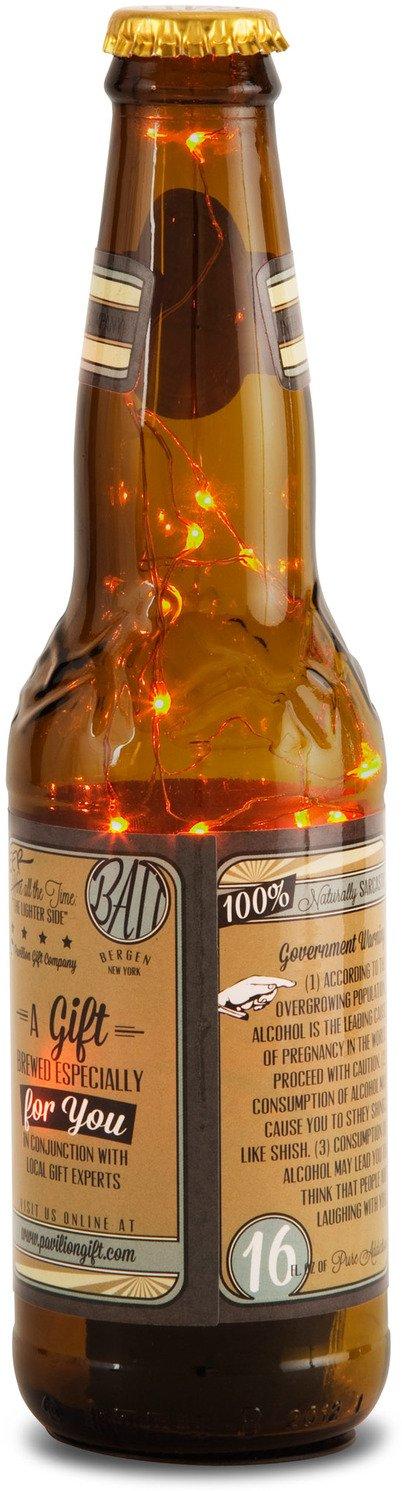 Pavilion Gift Company 22058 Beer All The Time  LED Lit Beer Bottle Honey 9-Inch
