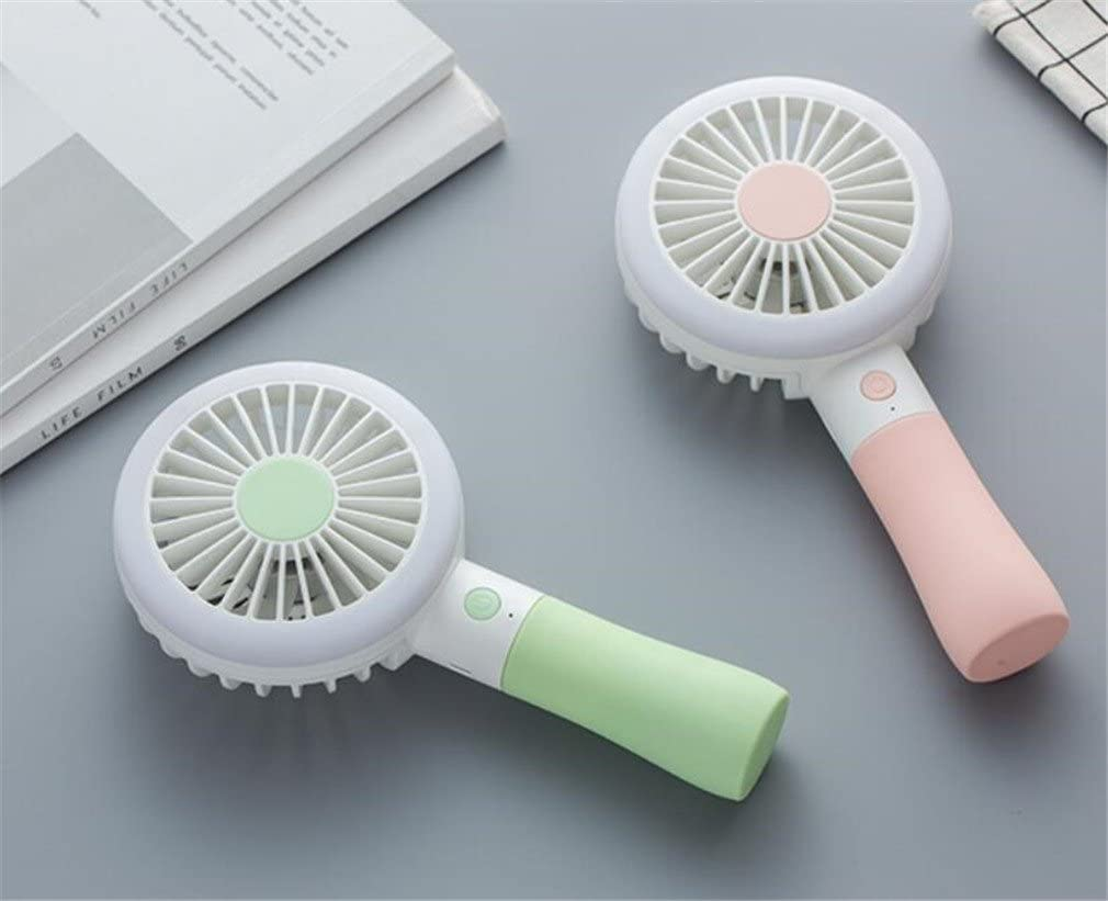 20010038Mm ,Green ELEGENCE-Z Handheld Mini Fan Tricolor Fill Light Handheld Desktop Fan USB Charger With Outdoor Fan
