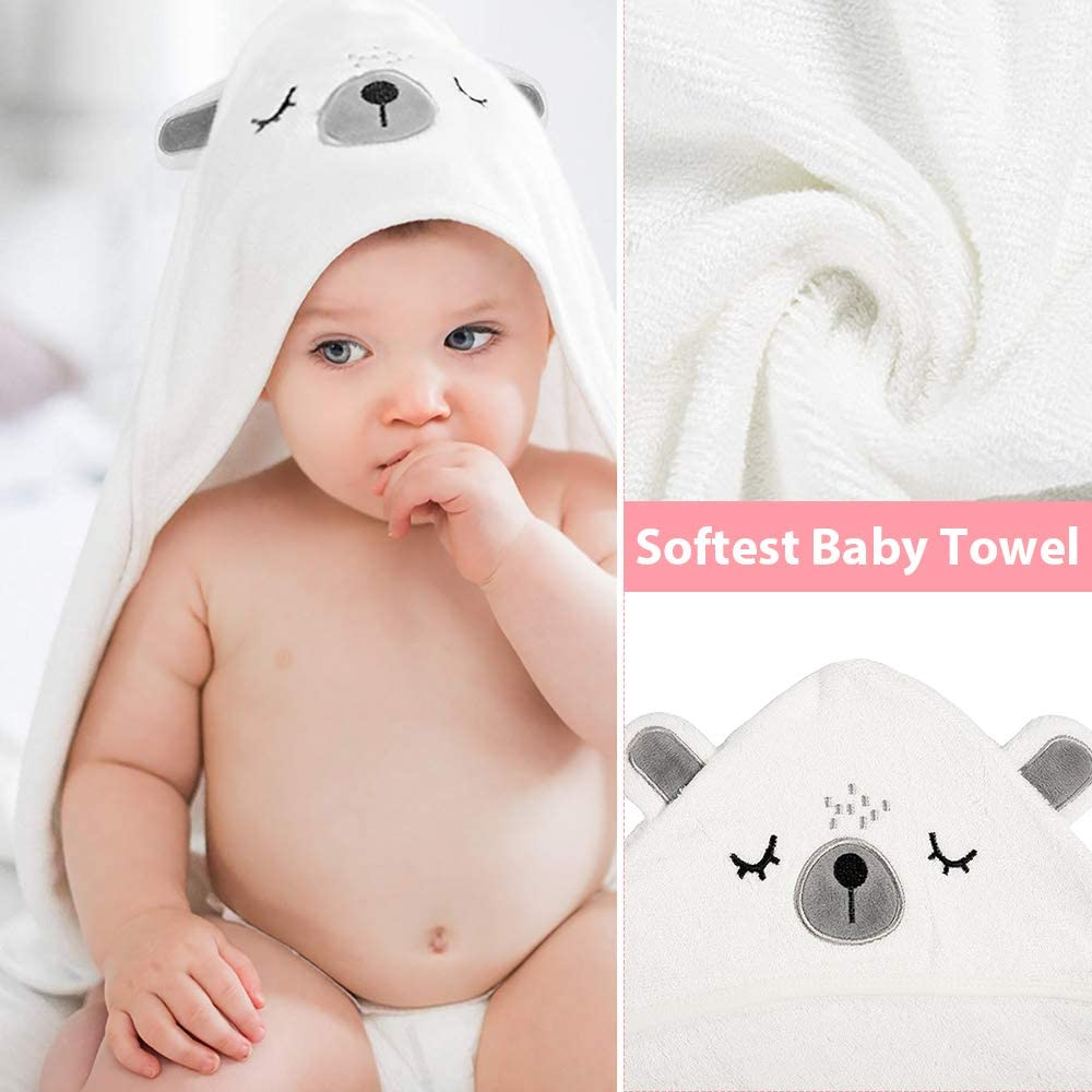 Toddlers 0-5 Years Old Zwini Hooded Bath Towels 100/% Organic Bamboo/Hooded Baby Towels Bear with Ears Perfect Baby Shower Gift for Babies