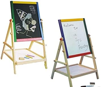 EXTRAS 2 IN 1 CHILDREN KIDS COLOUR WOODEN BLACKBOARD EASEL STAND LEARNING BOARD