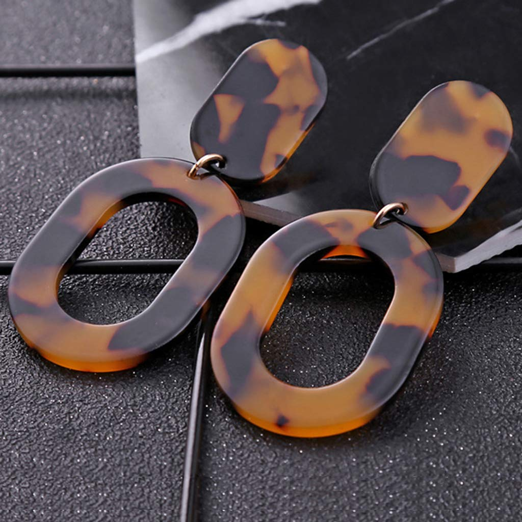 Princegame Leopard Acrylic Resin Geometric Dangle Earrings Acetate Tortoiseshell Jewelry