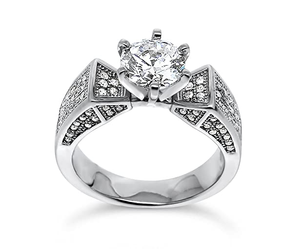 925 Sterling Silver UK Hallmarked 1ct Lab Diamond White Gold Plated Solitaire Wedding Engagement Ladies Ring nSz3PJeXH2