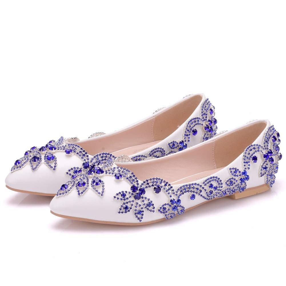 Flower-Ager Dames honneur Pumps,White,EU43 01BJBH Femmes Chaussures De Mariée Strass Dames Ballet Plat Demoiselle D honneur Satin Slip On Pumps,White,EU43 - dd88903 - avtodorozhniks.space