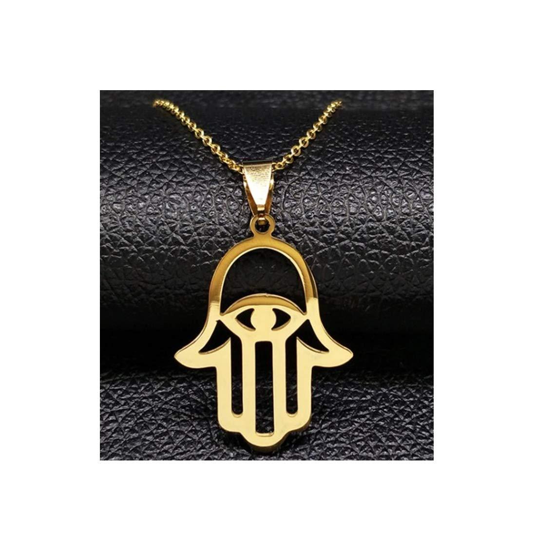 Amazon.com: Gold Color Hamsa Hand Eyes Necklaces Pendants ...