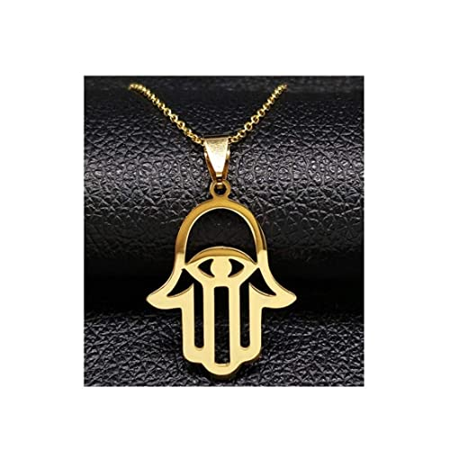 Amazon.com: Gold Color Hamsa Hand Eyes Necklaces Pendants ...