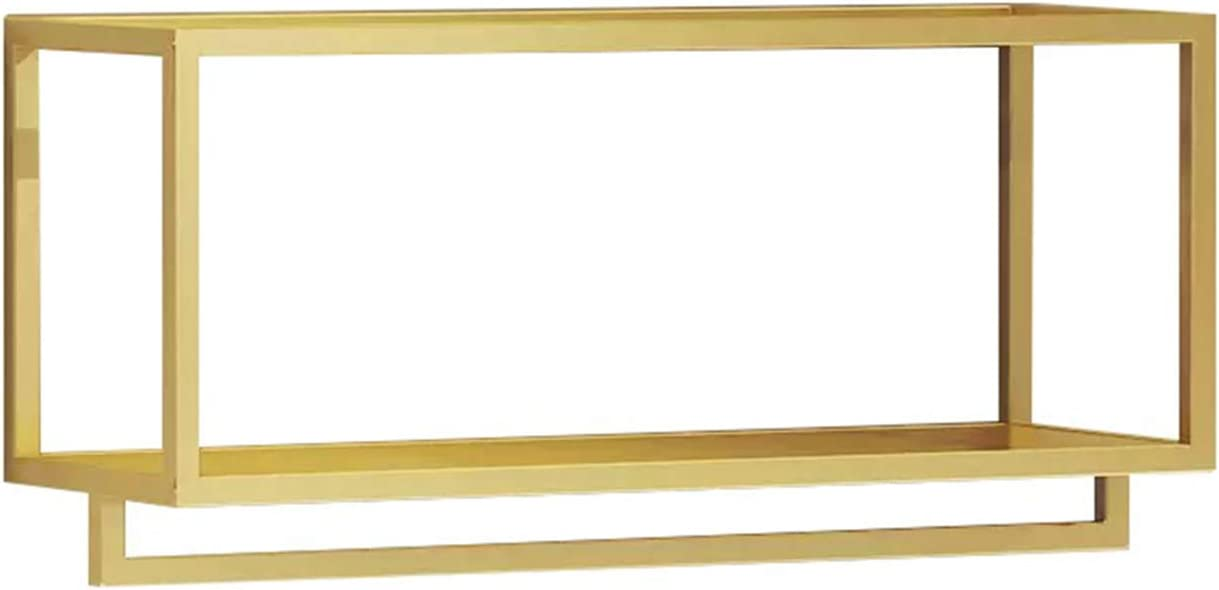 MDEPYCO Creative Square Display Garment Racks in Boutique Clothing Stores, Wall-Mounted Hanging Clothes Shelf in Home, Towel Racks for Bathroom Storage (Gold, 31.5