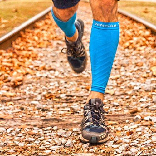 Zensah  Compression Leg Sleeves, Blue, Large/X-Large