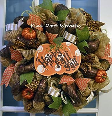 Happy Fall Y'all Pumpkin Deco Mesh Wreath, jute burlap orange lime green sparkle