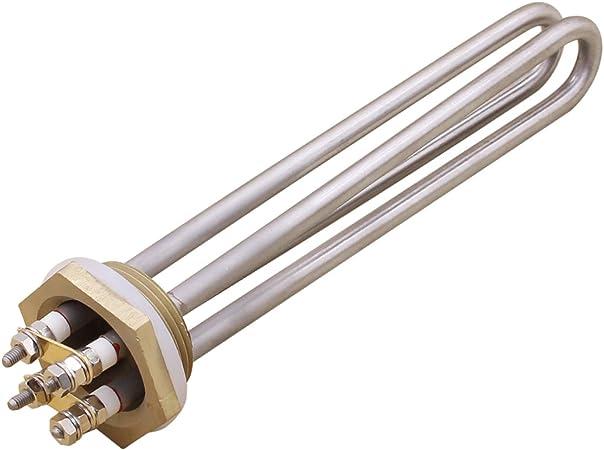 Energy Efficiency Class A Aiicioo 24v 600w /Él/ément Chauffant Acier Inoxydable de Qualit/é Alimentaire R/ésistance Chauffe-eau 1.25 Flange BSP Thread