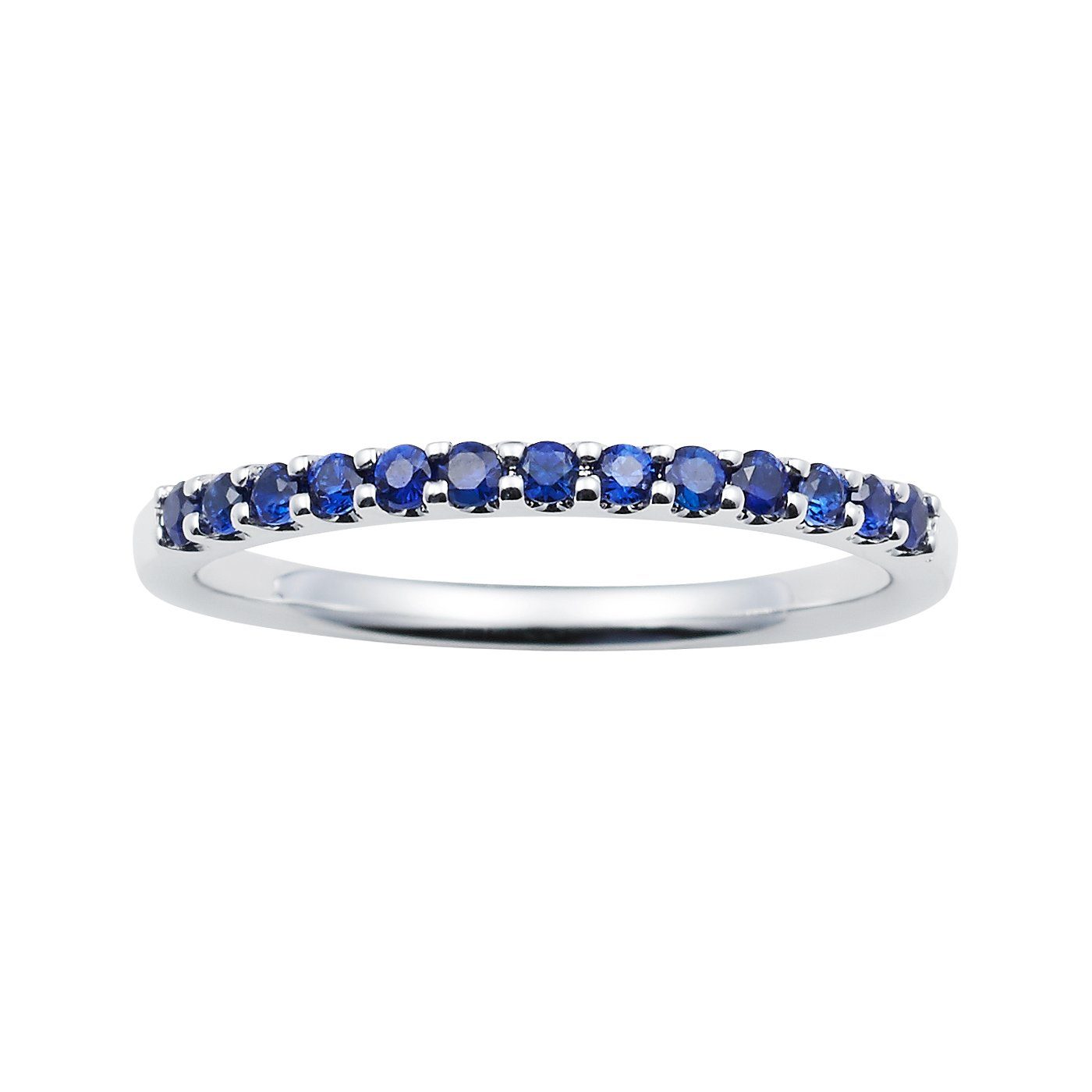 14K White Gold 1.04 Tgw. Blue Sapphire September Birthstone Stackable 2MM Band Ring