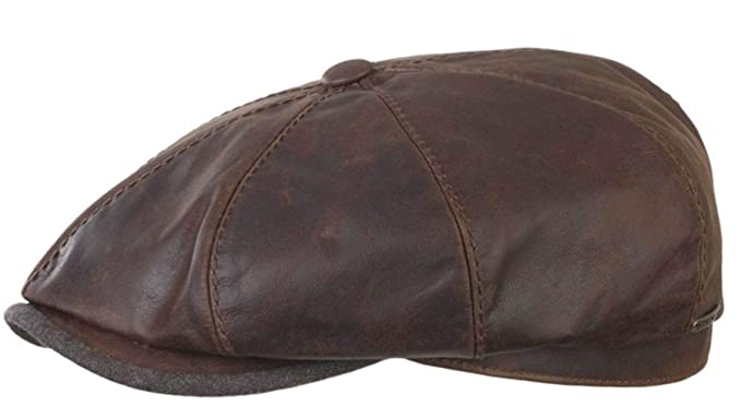 7ee988bbf4e Stetson Hatteras Goatskin Leather Newsboy Cap  Amazon.co.uk  Clothing