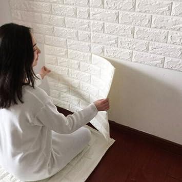 3D Ziegelstein Tapete 60x60cm Weiß~Brick Pattern Wallpaper~Wandaufkleber~  Fototapete ~Wandtapete ~