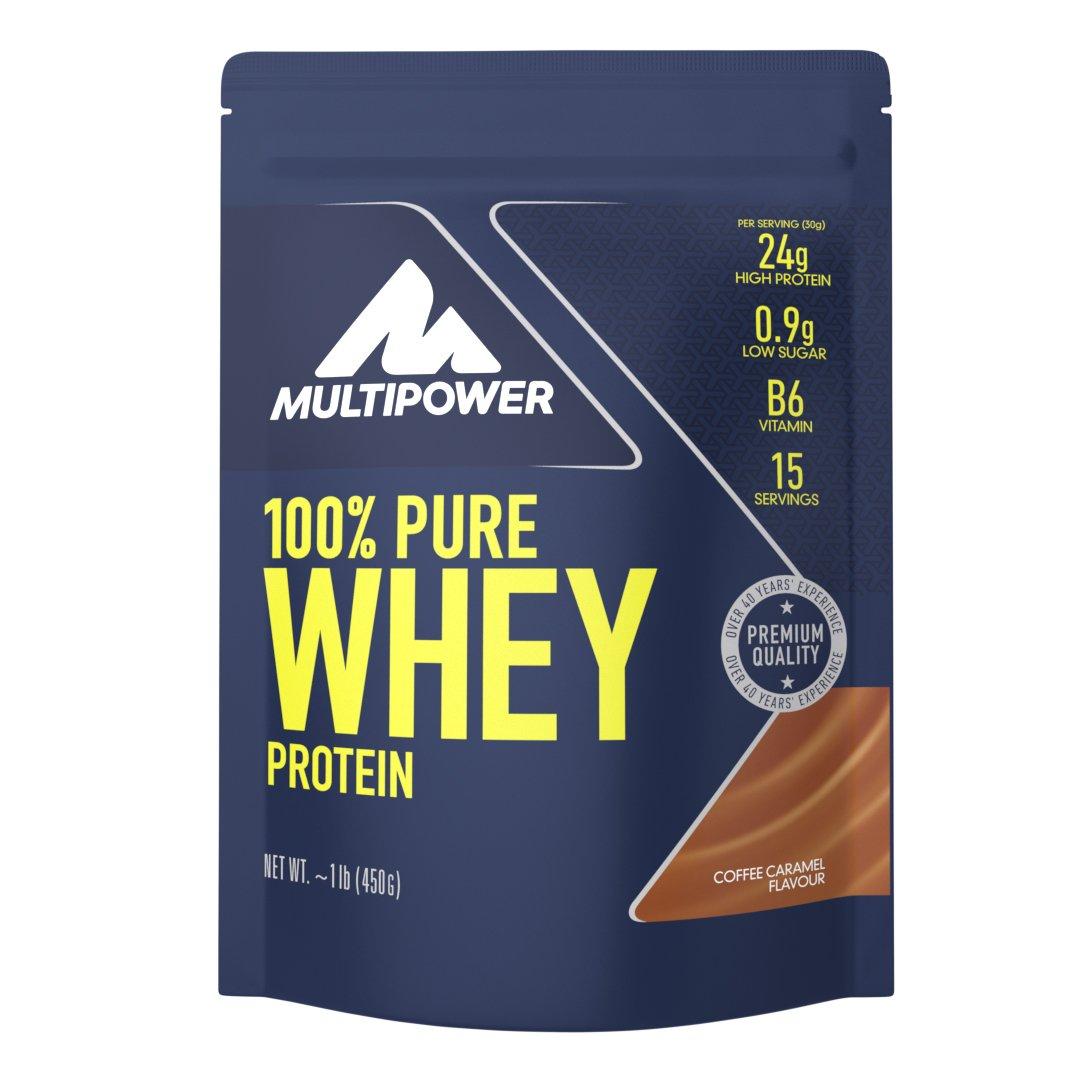 Multipower 100% Pure Whey Protein – wasserlösliches Proteinpulver mit Coffee Caramel Geschmack –  Eiweißpulver mit Whey Isolate als Hauptquelle – Vitamin B6 und hohem BCAA-Anteil – 450 g product image