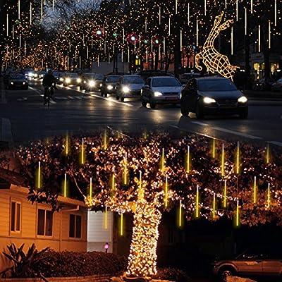 Lalapao Outdoor Christmas String Lights Solar Powered Xmas LED Meteor Shower Rain Lights Falling Raindrop Light 8 Tubes 288 LED Cascading Fairy Lights for Tree Garden Wedding Party Decor (Warm White)